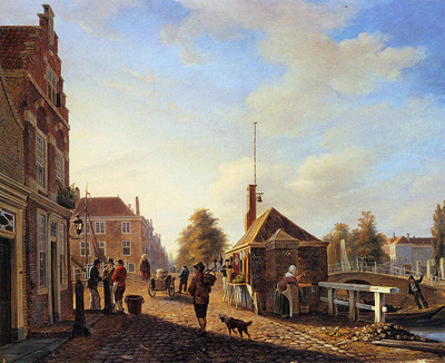 Leickert Charles Het Spui in the Hague Sun