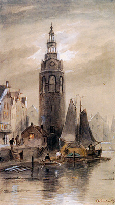 Leickert Charles Montelbaanstoren in Amsterdam Sun