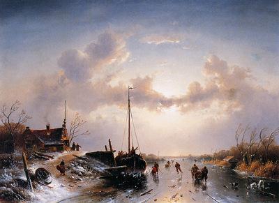 Leickert Charles River scene in winter Sun