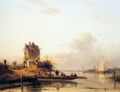 Leickert Charles Riverlandscape with ferry Sun