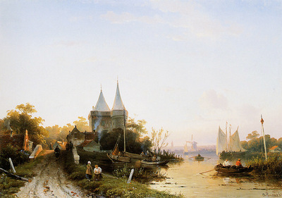 Leickert Charles Summer river landscape Sun