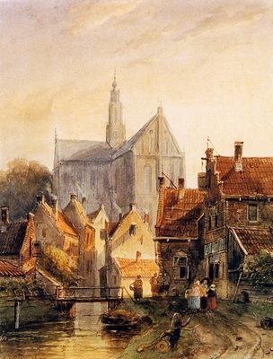 Leickert Charles View Raaks in Haarlem Sun