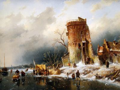 leickert charles winter landscape sun