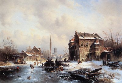 Leickert Charles Winterlandscape with frozen canal Sun