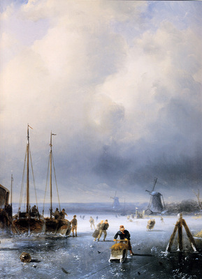 Leickert Charles Winterlandscape with frozen ships detail Su