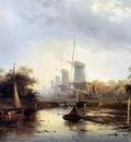 Leickert Charles Henri Summerlandscape with mills Sun
