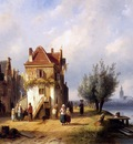Leickert Charles Henri View on a village near to a river Sun