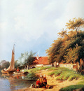 Leickert Charles Summer river landscape 3 detail Sun