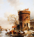 Leickert Charles Winter scene with round tower Sun