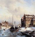 Leickert Charles Winterlandscape with frozen canal Sun