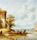 Leiclert Charles Riverlandscape with ferry Sun