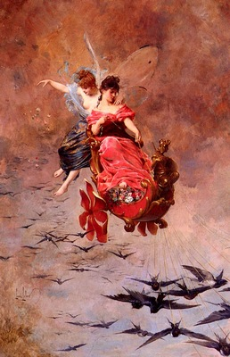 Leloir Alexandre Louis A Chariot Of Swallows