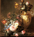 Lesourd Beauregard Ange Louis A Still Life With Assorted Flowers In A Basket And Tulips