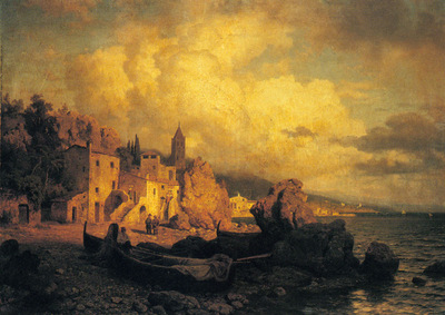Leu August Wilhelm A Coastal Fishing Village