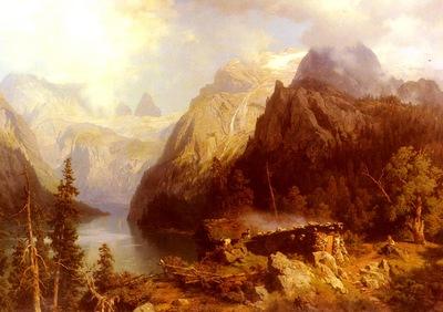 Leu August Wilhelm A Shepherdess And Sheep Resting By A Lake In An Alpnie Landscape
