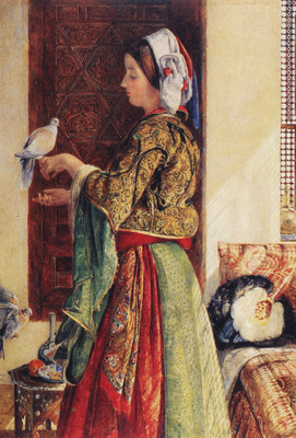 Lewis John Frederick Girl with Two Caged Doves