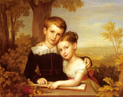 Leybold Carl Jacob Portrait Of Two Children With An Extensive Landscape Beyond