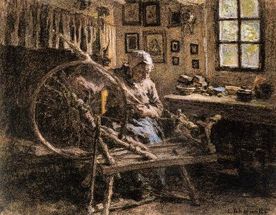 Lhermitte Leon Augustin The Spinning Wheel