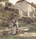 A Woman Filing Her Bucket at a Well