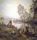 l hermitte leon augustin figures by a country stream circa