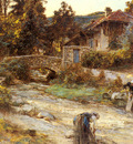 Lhermitte Leon Augustin Washerwomen At A Stream With Buildings Beyond