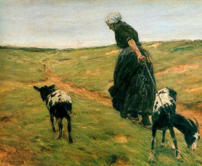 Liebermann Max Woman with goats Sun