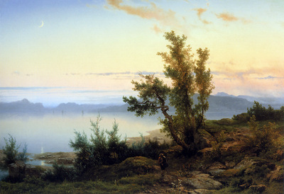 Lieste Cornelis Wanderer at the edge of a mountainlake Sun