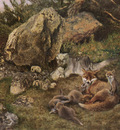Liljefors Bruno Swedish 1860 to 1939 A Family Of Foxes SnD 1905 O C 69 9 by 100 3cm