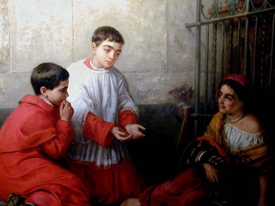 Choir boys buying chestnuts from Gypsy