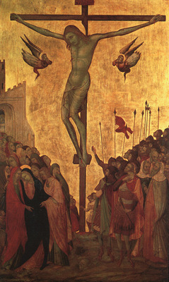 Lorenzetti,Ugolino The Crucifixion, mid 1300s, tempera on wo