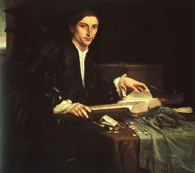 LOTTO YOUNG MAN IN HIS STUDY, 1527 28, ACCADEMIA GALLERY, VE