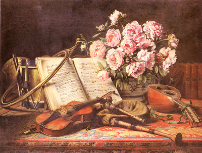 Loyeux Charles Antoine Joseph A Musical Still Life