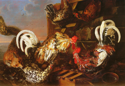 Luycks Christiaan 1623 to 1657 A Farmyard Scene With A Fox Attacking Bantams O C 100 3 by 140 5cm