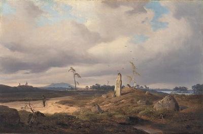 Achenbach Andreas Landscape with Rune Stone