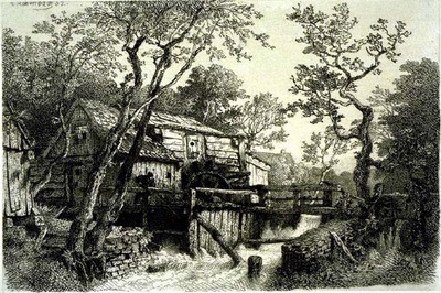 Achenbach Andreas Mill Beside a Stream