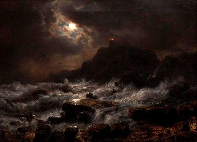 Achenbach Andreas Norwegian Coast by Moonlight