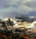 Achenbach Andreas Storm at Dutch Coast