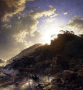 Achenbach Andreas Sunset after a Storm on the Coast of Sicily