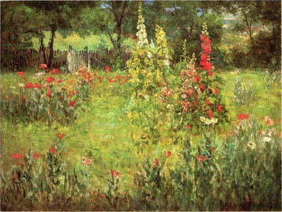Adams John Ottis Hollyhocks and Poppies The Hermitage