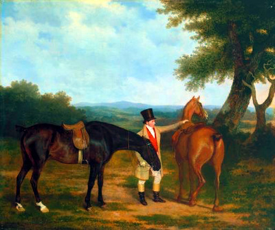 Agasse Jacques Laurent Two Hunters with a Groom