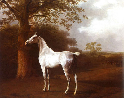 Agasse Jacques Laurent White Horse in Pasture