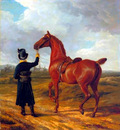 Agasse Jacques Laurent Lord Rivers Groom Leading a Chestnut Hunter towards a Coursing Party in Hampshire