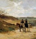 Akkeringa Johannes Horsemen in dune landscape Sun