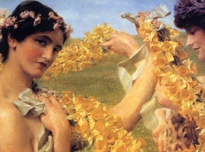 Lawrence Alma Tadema Quand les Fleurs reviennent detail , De