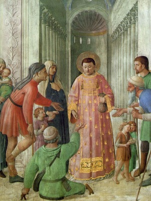 Fra Angelico St Lawrence giving alms, 1450s, Chapel of Nicho