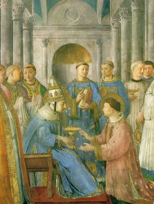 Fra Angelico The ordination of St Lawrence, 1450s, Chapel o