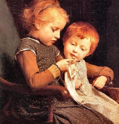 Albert Anker The Little Knitters, De
