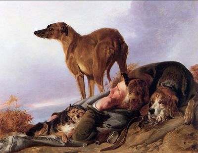 Ansdell Richard A man and his dogs Sun