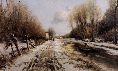 Apol Louis Winter landscape forest Sun