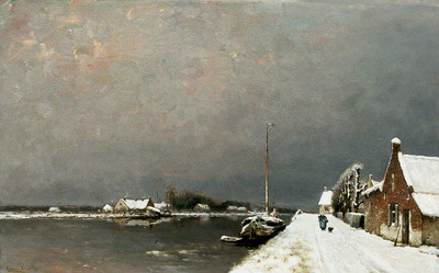 Apol Louis Winter view on a canal Sun